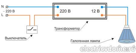 галогенная лампа и трансформатор